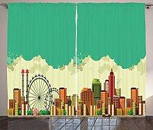 ABAKUHAUS Riesenrad Rustikaler Vorhang, Vintage