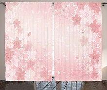 ABAKUHAUS Rosa Rustikaler Vorhang, Kirschblüte