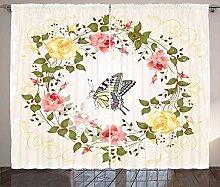 ABAKUHAUS Rose Rustikaler Vorhang, Vintage Kranz