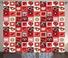 ABAKUHAUS rot Rustikaler Vorhang, Valentinstag
