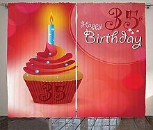 ABAKUHAUS rot Rustikaler Vorhang, Yummy Cupcake