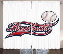 ABAKUHAUS rot-Weiss Rustikaler Vorhang, Baseball