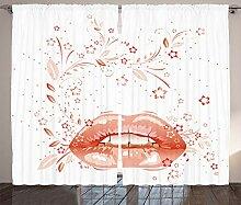 ABAKUHAUS rot-Weiss Rustikaler Vorhang, Digitaler