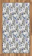 ABAKUHAUS Safari Teppich, Leoparden mit Blumen,