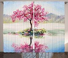 ABAKUHAUS Sakura Rustikaler Vorhang, Japanischer