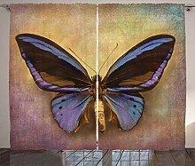 ABAKUHAUS Schmetterling Rustikaler Vorhang,