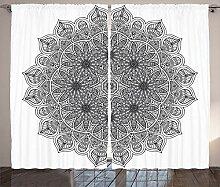 ABAKUHAUS Schwarz Rustikaler Vorhang, Mandala