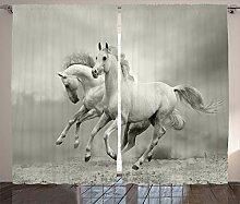 ABAKUHAUS Schwarz-Weiss Rustikaler Vorhang, Pferd