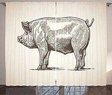 ABAKUHAUS Schwein Rustikaler Gardine, Vintage