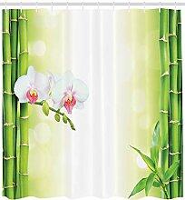 ABAKUHAUS Spa Duschvorhang, Orchideen Bambus