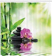 ABAKUHAUS Spa Duschvorhang, Orchideen Felsen