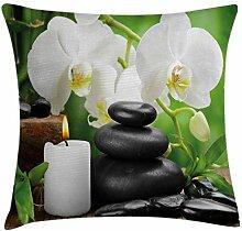 ABAKUHAUS Spa Kissenbezug, Orchideen Zen Steine