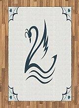 ABAKUHAUS Teal Teppich, Stilisierter Schwan mit