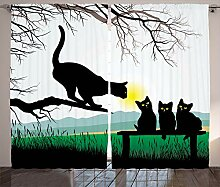 ABAKUHAUS Tier Rustikaler Vorhang, Mutter Cat Baby