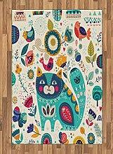 ABAKUHAUS Tier Teppich, Katzenfigur mit Vögeln,