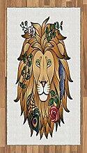ABAKUHAUS Tierdruck Teppich, Löwe mit Blume,