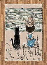 ABAKUHAUS Tiere Teppich, Baby mit Einer Katze,