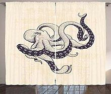 ABAKUHAUS Tintenfisch Rustikaler Vorhang, Grunge