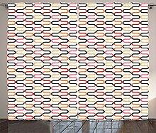 ABAKUHAUS Trippy Rustikaler Vorhang, Vintage 60er