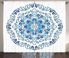 ABAKUHAUS Vintage Blue Rustikaler Vorhang,
