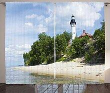 ABAKUHAUS Vintage Strand Rustikaler Vorhang,