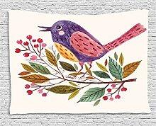 ABAKUHAUS Vögel Wandteppich, Scarlet Feuerdorn