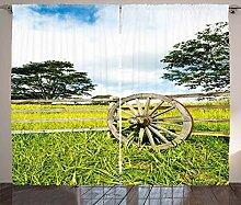 ABAKUHAUS Wagenrad Rustikaler Vorhang, Grüne