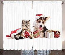 ABAKUHAUS Weihnachten Rustikaler Gardine, Hund