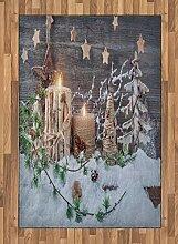 ABAKUHAUS Weihnachten Teppich, Kerzen mit