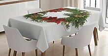ABAKUHAUS Weihnachten Tischdecke, Blumenkranz,