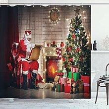 ABAKUHAUS Weihnachtsmann Duschvorhang, Santa