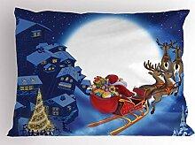 ABAKUHAUS Weihnachtsmann Kissenbezug, Rentiere im