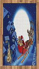 ABAKUHAUS Weihnachtsmann Teppich, Rentiere im