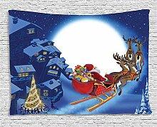 ABAKUHAUS Weihnachtsmann Wandteppich, Rentiere im