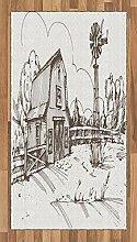 ABAKUHAUS Windmühle Teppich, Rustikale Bauernhaus