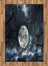 ABAKUHAUS Winter Teppich, Mond bei Nacht im Wald,