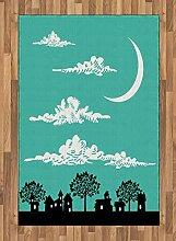 Abakuhaus Wolke Teppich, Gebäude mit Bäumen,
