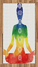 ABAKUHAUS Yoga Teppich, Frau mit Chakra-Symbolen,
