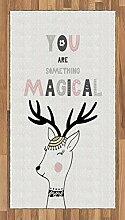 Abakuhaus Zitat Teppich, Slogan mit Deer Design,