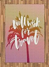 ABAKUHAUS Zitat Teppich, Wird für Reise Palm