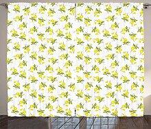 ABAKUHAUS Zitronen Rustikaler Vorhang, Aquarelle