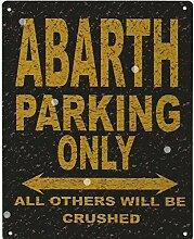 Abarth Parking Rustikaler Stil den großen 30,5x 40,6cm 30x 40cm Auto Schuppen Dose Garage Werkstatt Art Wand Spiele Raum