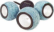 ABC Home Garden 22501, Gartendeko | Solarleuchte LED | Lichtsensor | 3tlg., Plastik, Blau, 8.5 x 8.5 x 8.5 cm