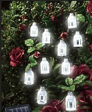 ABC Home Garden 22526 Gartendeko, Solarleuchte LED, Lichterkette, Lichtsensor, Plastik, Weiß, 4 x 4 x 6.5 cm