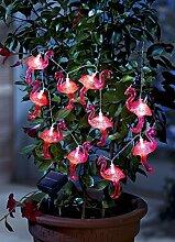 ABC Home Garden 22584 Gartendeko, Solarleuchte LED, Lichterkette, Lichtsensor, Plastik, Rosa, 233.5 x 3.5 x 11 cm