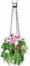 ABC Home Garden Gartendeko Solarleuchte Hängeleuchte LED Garten Blüten, Metall, Grün, Rosa, Schwarz, 20 x 20 x 68 cm