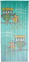 ABC Home Living Raumteiler | Türvorhang | Insektenschutz |Bambusvorhang | Eulen, Bambus, Mehrfarbig, 200 x 90 cm