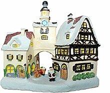 ABC Home Living Weihnachtsdeko Winterdorf mit Beleuchtung | LED, Polyresin, Mehrfarbig, 12 x 25 x 24.5 cm