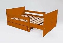 ABC MEUBLES - Ausziehbare Kind Bett mit Schublade aus Holz - EVOL90 - Schokolade