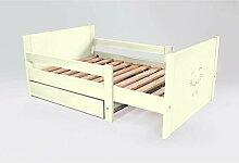 ABC MEUBLES - Ausziehbare Kind Bett mit Schublade aus Holz - EVOL90 - Elfenbein